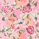 Delicate seamless pattern with Japanese white cranes and chrysanthemums. Delicate seamless pattern with Japanese white cranes Stock Photography