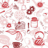 Delicate seamless pattern with sweets and tea. Vector Vector Illustration