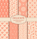 Delicate seamless patterns. Vector set. Royalty Free Stock Images