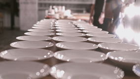Delicate serving exquisite dinner table for elegant banquet stock video