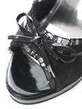 Delicate & sexy black laces high heels tip view Stock Image