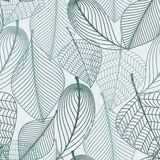 Delicate skeleton leaves seamless pattern Stock Photos