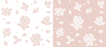 Delicate soft pink rose flower white seamless pattern. Embroidery vector flower decoration textile print illustration Stock Photography