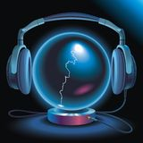 Delicate Sound Of Thunder. Neon light magic crystal ball with headphones vector illustration