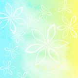 Delicate spring floral background. In blue and yellow colors Stock Photo