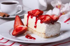Delicate strawberry cheesecake and coffee Stock Photo