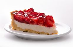 delicate strawberry cheesecake on a white plate. macro stock images