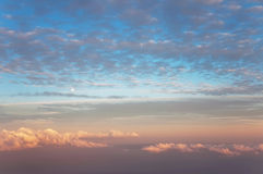 Delicate sunrise sky with clouds. Aerial photography. Delicate sunrise sky with light clouds Royalty Free Stock Photography