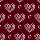 Delicate sweet lace heart on a red background Seamless pattern. 10 eps stock images