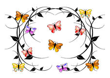 Delicate swirls, colorful butterflies Stock Photos