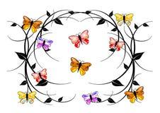 Delicate swirls, colorful butterflies. Pretty delicate swirls, black leafs surrounded by elegant delicate colorful butterflies Stock Photos
