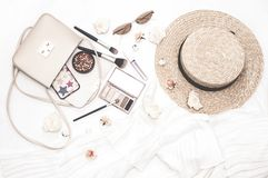 Delicate trendy background with accessories and cosmetics. royalty free stock image