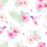 Delicate tropical flowers with hummingbirds seamless vector prin Stock Photo