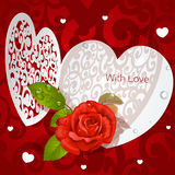 Delicate Valentine applique with red rose Royalty Free Stock Photography
