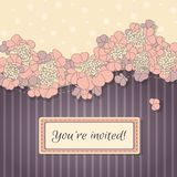 Delicate vector background with pink flowers Stock Images