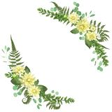 Delicate vector floral angular frame with dahlias, fern leaf, br. Anch of boxwood and eucalyptus is isolated on white background. Element for wedding invitations vector illustration