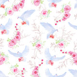 Delicate vector pattern with post doves, love letters, orchids, Stock Photo