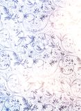 Delicate vintage blue gold floral pattern on old paper light texture. Stylish decor in country style or Provence style. Royalty Free Stock Images