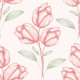 Delicate vintage hand drawn green and red spring flower bouquets Seamless half drop pattern on cream white background royalty free illustration