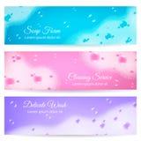 Soap Foam Realistic Banners vector illustration