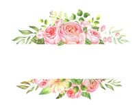 Delicate watercolor frame of roses. Delicate watercolor set of floral border elements and wreath on isolated white background in high resolution for wedding Stock Photography