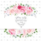 Delicate wedding floral vector design card. Beautiful spring bouquet. Peony, pink and red rose, hydrangea, camellia, eucalyptus, blue berry. Crowns backdrop Stock Photo