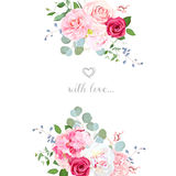 Delicate wedding floral vector design card. Bouquet frame. Peony, rose, hydrangea, camellia, eucalyptus. Colorful objects set. All elements are  and editable Stock Images