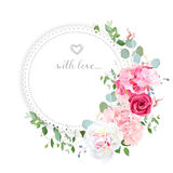 Delicate wedding floral vector design card. Half moon shape bouquet. Peony, rose, hydrangea, eucalyptus. Colorful objects set. All elements are isolated and Royalty Free Stock Photography