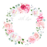 Delicate wedding floral vector design round frame. Beautiful spring bouquet. Peony, rose, hydrangea, camellia, eucalyptus. Colorful objects set. All elements Royalty Free Stock Image