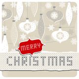 Delicate white beige glass balls and lace with Christmas wishes holiday card Stock Image