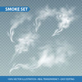 Delicate white cigarette smoke waves on transparent background. Vector illustration Royalty Free Stock Photography