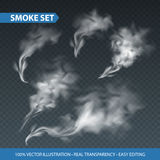 Delicate white cigarette smoke waves on transparent background. Vector illustration Royalty Free Stock Images