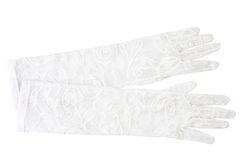 Delicate white gloves isolated on white. Background Royalty Free Stock Image