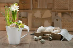 Delicate white hyacinth on vintage kitchen. Happy Easter! Royalty Free Stock Photography