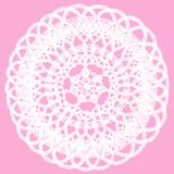 Delicate knitted lace doily isolated on pink background vector illustration