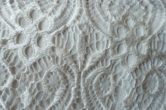 Delicate white retro-styled lace fabric from above Royalty Free Stock Images