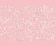 Delicate white seamless lace ribbon on a pink background. Stock Image