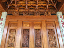 Delicate wood carving at Nanputuo Temple in Xiamen city, China Royalty Free Stock Image