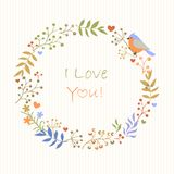 A delicate wreath of flowers, berries and ptits. Retro vector background Stock Photography
