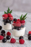 Delicate yogurt in glasses with raspberry and currant berries. Delicate yogurt in glasses with raspberry and currant berries Royalty Free Stock Images