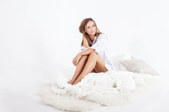Delicate young girl in bed Royalty Free Stock Photo