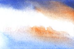 Delicately blurred abstract background in watercolor tones. Hand drawn art with paper texture. stock photo