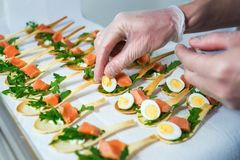 Delicates,填装用红色鱼和绿色的开胃菜 承办酒席服务 库存照片
