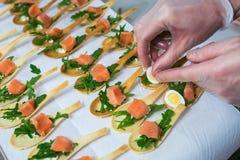 Delicates,填装用红色鱼和绿色的开胃菜 Catring服务 免版税图库摄影
