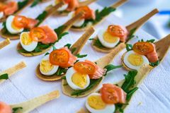 Delicates,填装用红色鱼和绿色的开胃菜 Catring服务 免版税库存照片