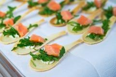 Delicates aptitretarefyllning med den röda fisken och gräsplaner Sköta om service Royaltyfria Foton