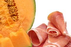 Delicatesse - meloen en vlees Stock Foto