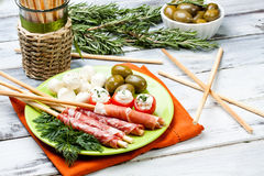 Delicatessen appetizers Stock Photos