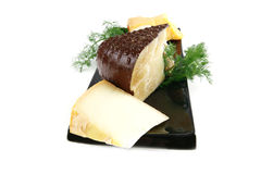 Delicatessen cheese on plate Royalty Free Stock Photography