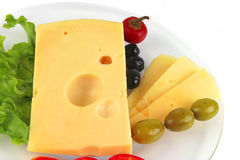 Delicatessen cheese served on dish Stock Photo